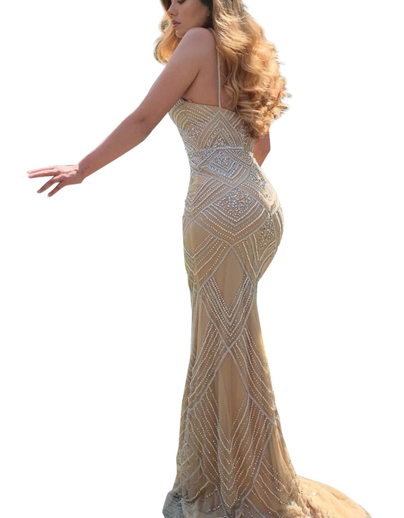 Unique Dresses Adriana Gold Nude