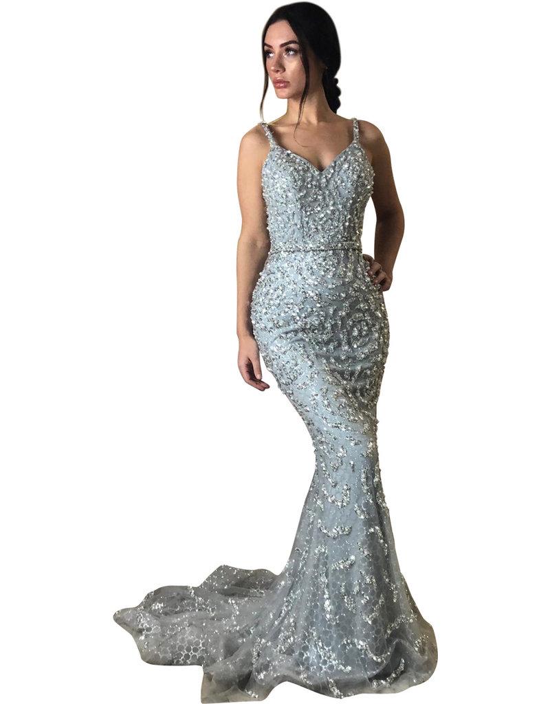 Unique Dresses Livia Pearls Beaded Grey Dress