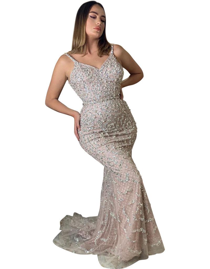 Unique Dresses Livia Pearls Beaded Rose Dress