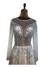Unique Dresses Emiliana Grey Beaded Dress