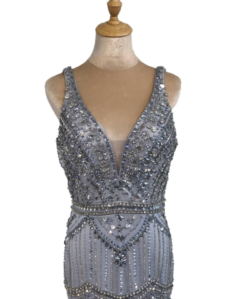 Unique Dresses Luciella Grey Beaded Dress