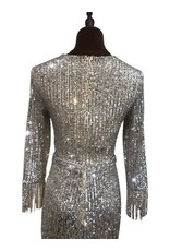 Unique Dresses Halina Silver Long Sleeve Dress