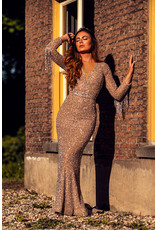 Tyra Silver Nude Beaded Gown
