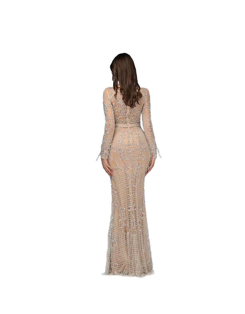 Unique Dresses Andrea Nude Beaded Dress