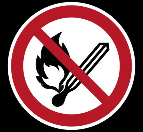 ARBO centrum Vuur, open vlam en roken verboden pictogram