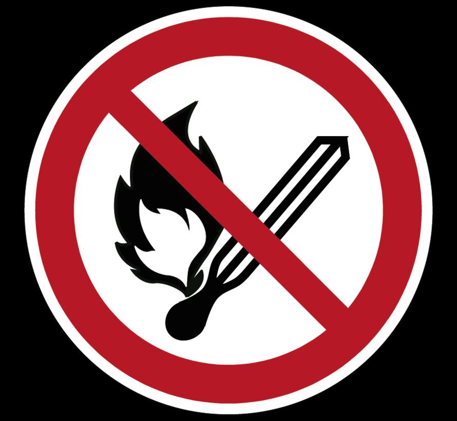 Vuur, open vlam en roken verboden pictogram