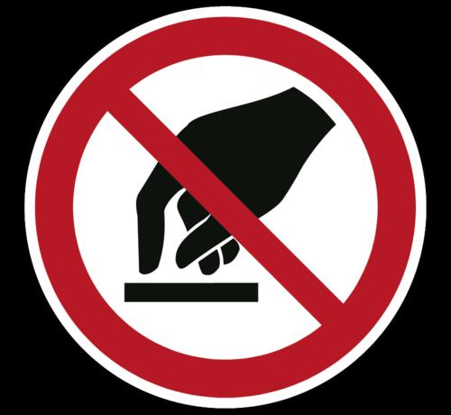 ARBO centrum Aanraken verboden verbodspictogram