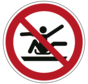 Armen en benen binnen de slee houden verbodspictogram