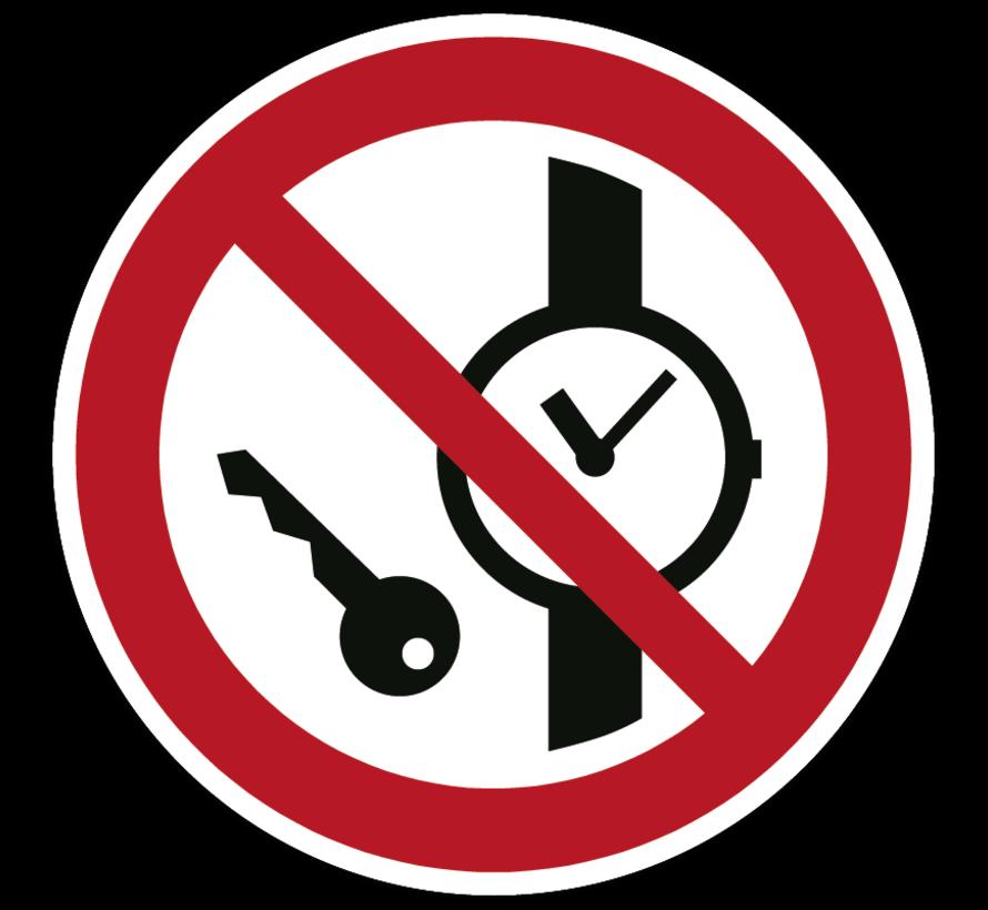 Kleine metalen voorwerpen verboden pictogram