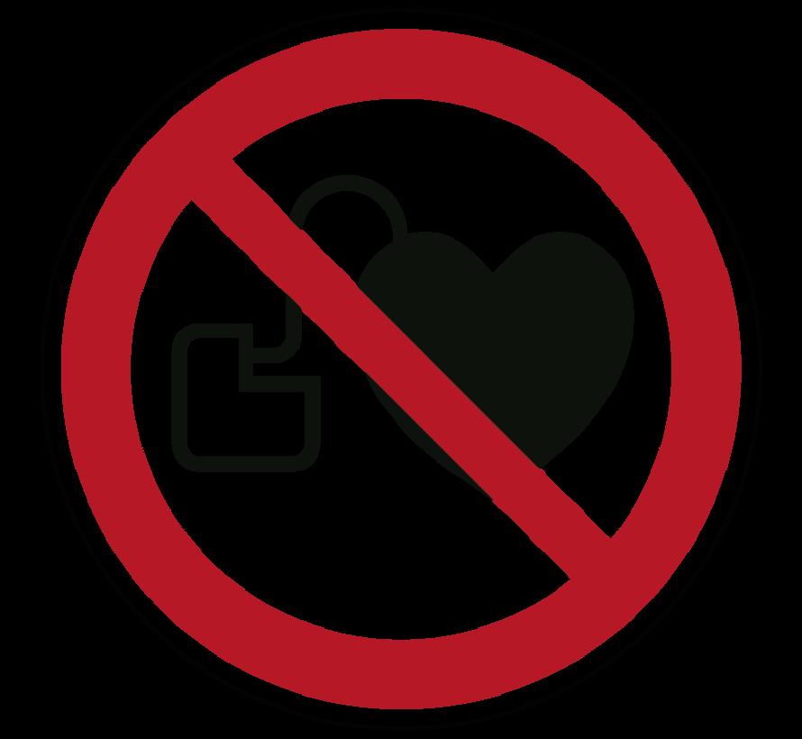 Verbod voor personen met pacemaker pictogram