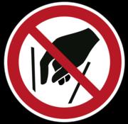 Verboden in vergaarbak te grijpen