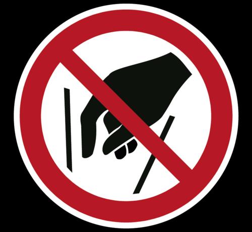 ARBO centrum Verboden in vergaarbak te grijpen pictogram