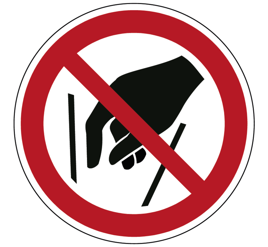 Verboden in vergaarbak te grijpen pictogram