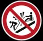 Verboden tegen de slee te botsen pictogram