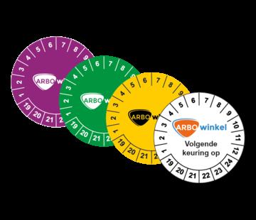 Keuringssticker met logo en tekst