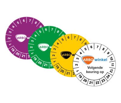 ARBO centrum Keuringssticker met logo / tekst