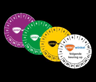 ARBOwinkel.nl Keuringssticker met logo / tekst