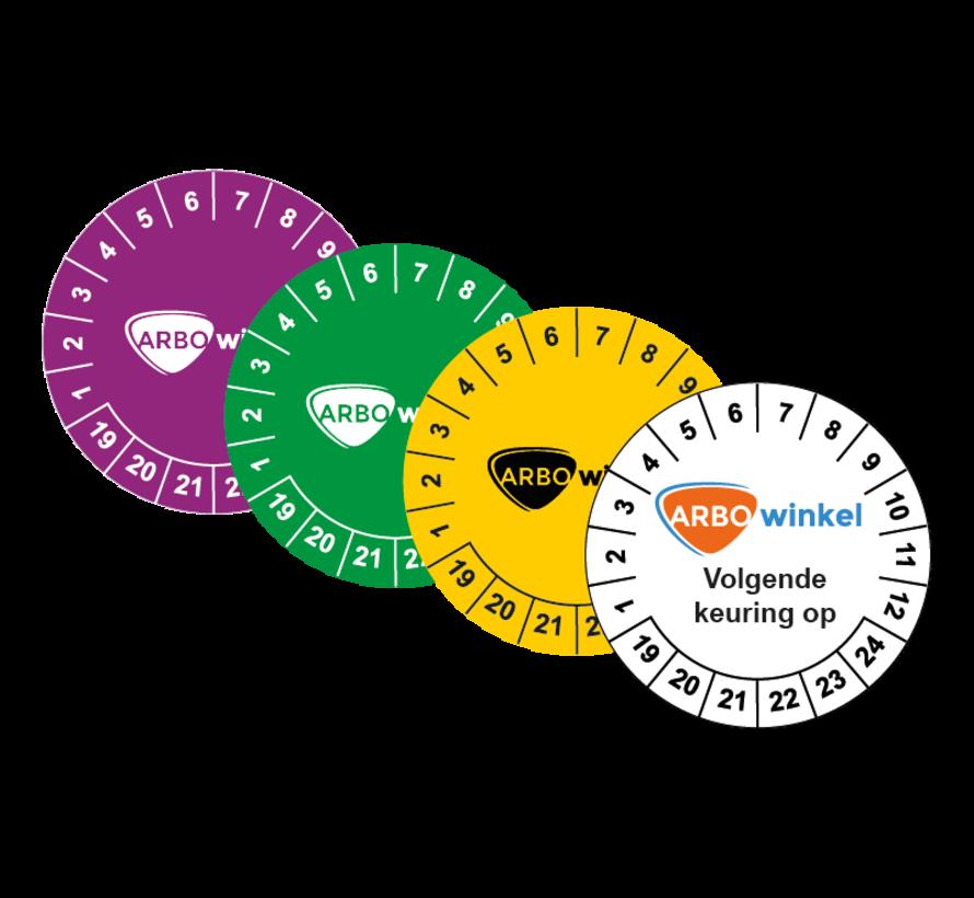 Keuringssticker met logo en tekst - v.a. 600 stuks