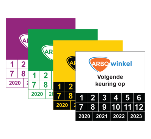 ARBO centrum Vierkante keuringssticker met logo