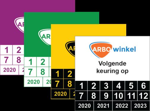 ARBOwinkel.nl Vierkante keuringssticker met logo