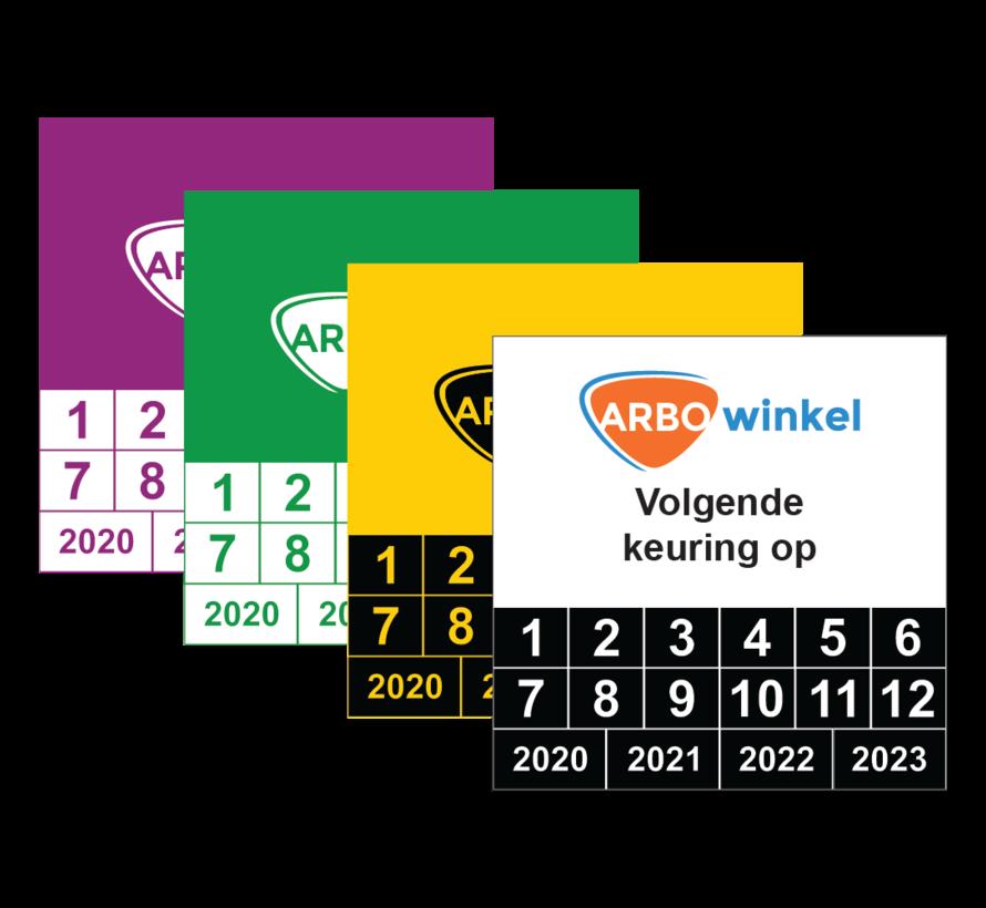 Vierkante keuringssticker met logo