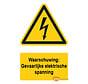 Waarschuwingsbord / sticker gevaarlijke elektrische spanning met tekst