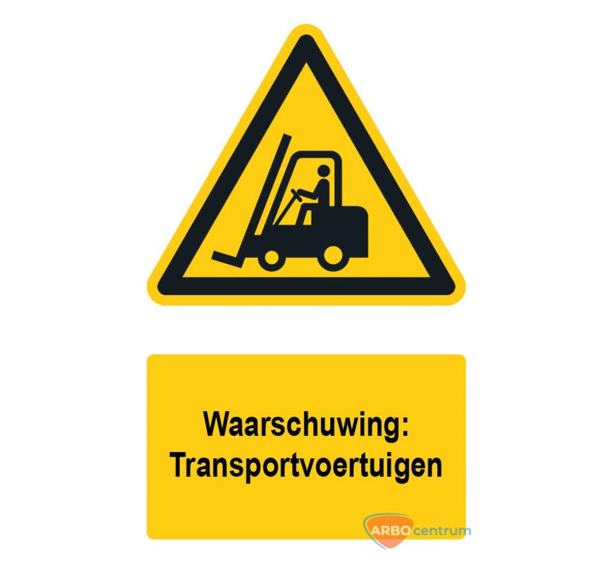 Waarschuwingsbord / sticker transportvoertuigen met tekst