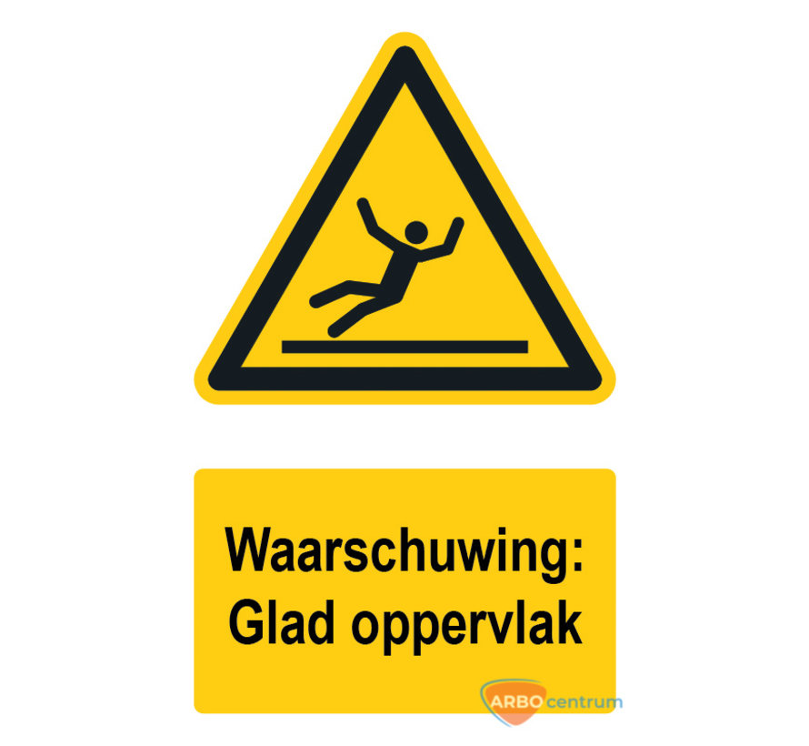Waarschuwingsbord / sticker glad oppervlak met tekst
