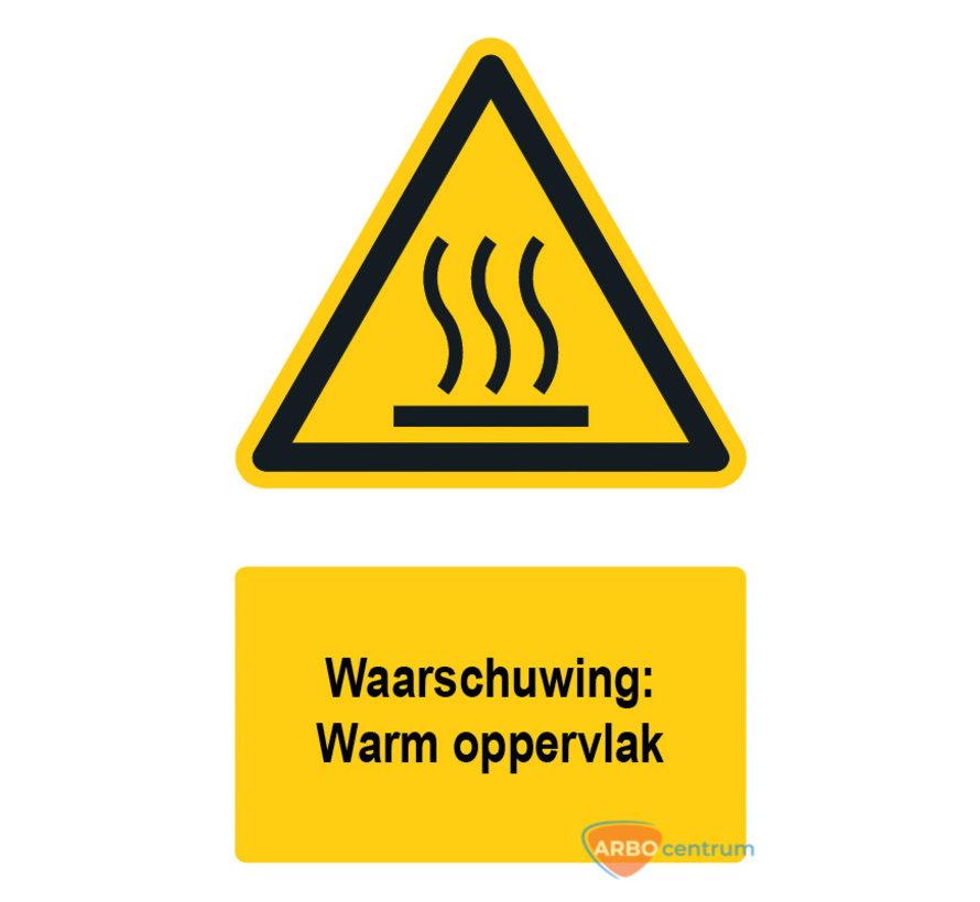 Waarschuwingsbord / sticker warm oppervlak met tekst