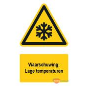 Waarschuwingsbord / sticker lage temperaturen met tekst