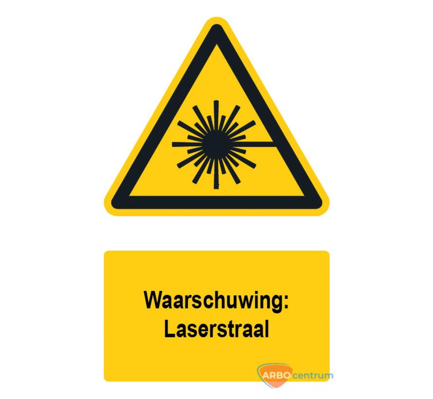 Waarschuwingsbord / sticker laserstraal met tekst