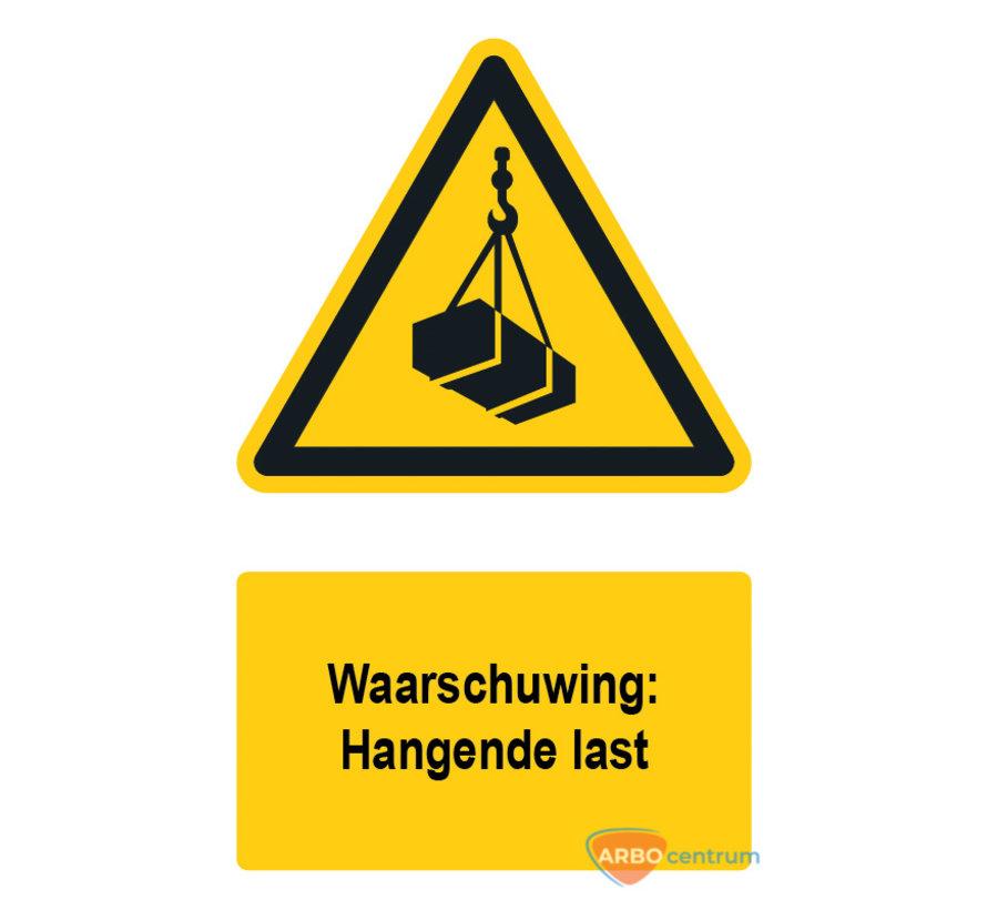 Waarschuwingsbord / sticker hangende last met tekst