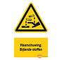 Waarschuwingsbord / sticker brandende stoffen met tekst