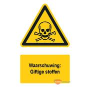 ARBO centrum Waarschuwingsbord / sticker giftige stoffen met tekst
