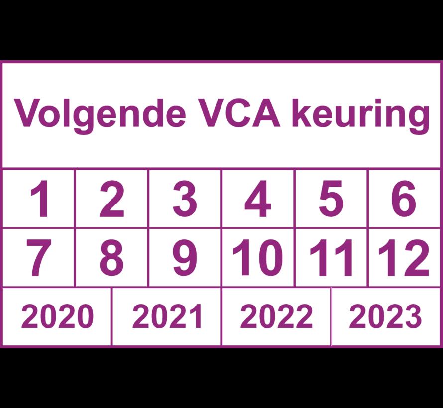 """Vierkante keuringssticker """"Volgende VCA keuring"""""""