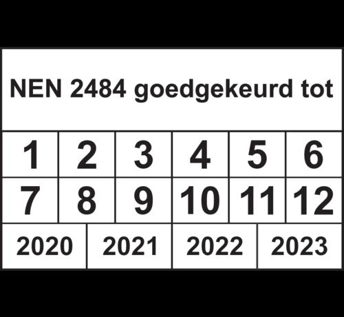 """ARBO centrum Vierkante keuringssticker """"NEN 2484 goedgekeurd tot"""""""