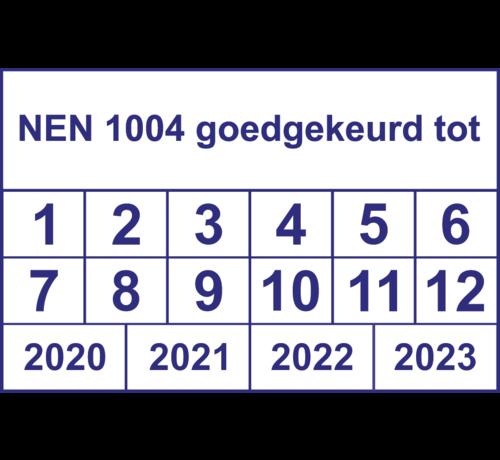 """ARBO centrum Vierkante keuringssticker """"NEN 1004 goedgekeurd tot"""""""