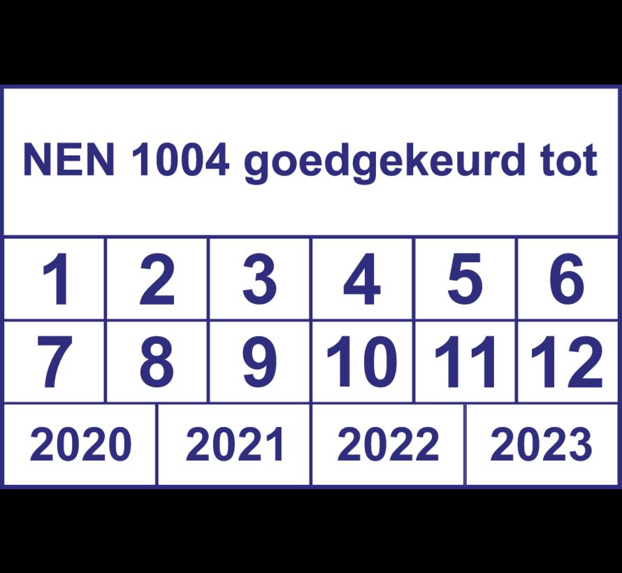 """Vierkante keuringssticker """"NEN 1004 goedgekeurd tot"""""""