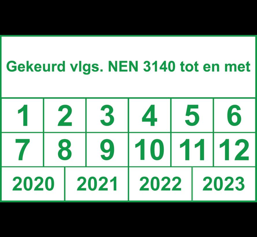 Vierkante NEN 3140 keuringssticker