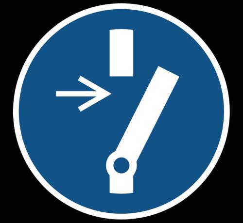 ARBO centrum Vrijschakelen voor onderhoud of herstelling gebodspictogram