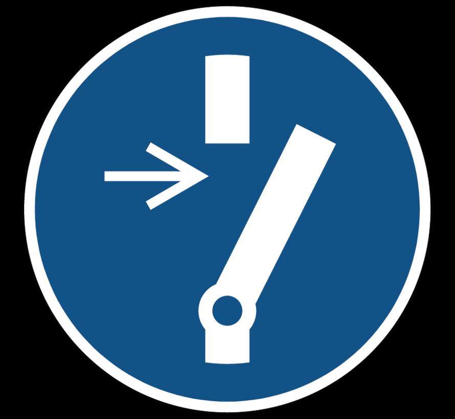 Vrijschakelen voor onderhoud of herstelling gebodspictogram