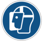 Gelaatsbescherming verplicht gebodspictogram