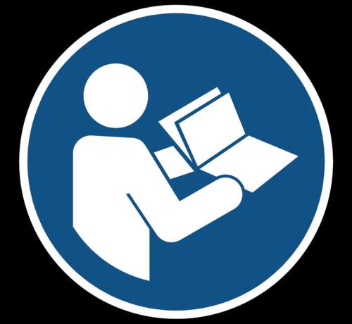 ARBO centrum Gebruiksaanwijzing in acht nemen gebodspictogram