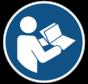 Gebruiksaanwijzing in acht nemen gebodspictogram