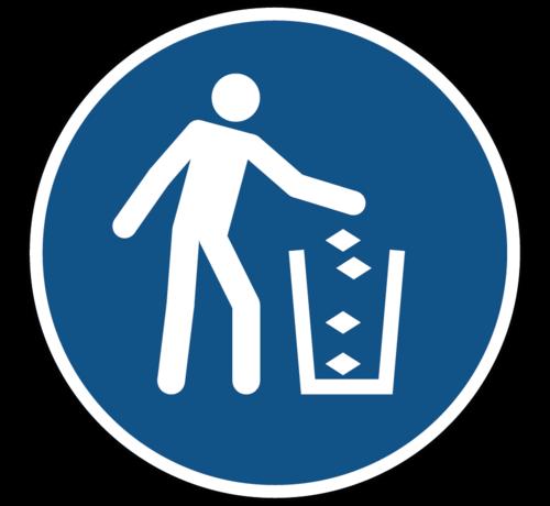ARBO centrum Gebruik de vuilnisbak gebodspictogram