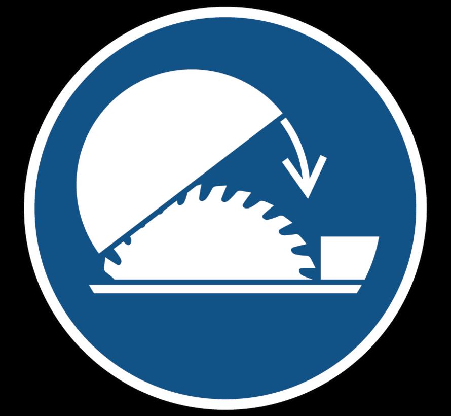 Gebruik de verstelbare kap van de tafelzaag gebodspictogram
