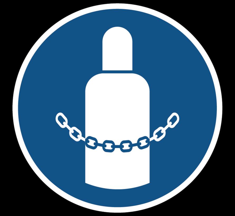 Gasflessen vastmaken gebodspictogram