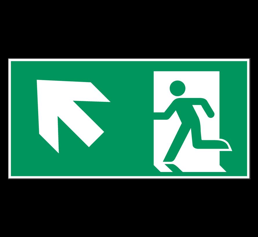 Nooduitgang naar links boven pictogram