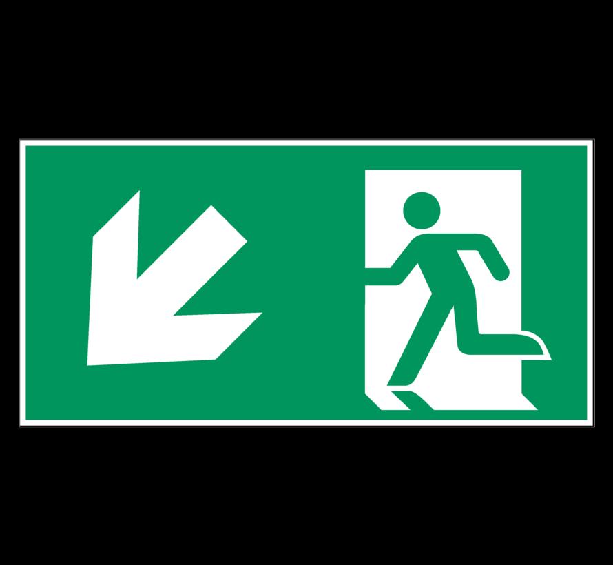 Nooduitgang naar links onder pictogram
