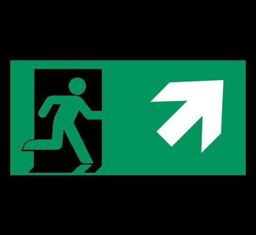 ARBO centrum Nooduitgang naar rechts boven pictogram